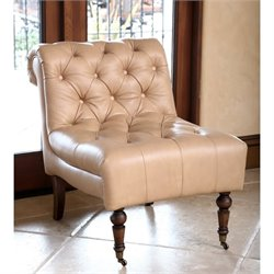 Abbyson Living Monica Pedersen Armless Leather Chair in Camel