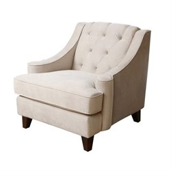 Abbyson Living Emily Velvet Tufted Arm Chair in Beige