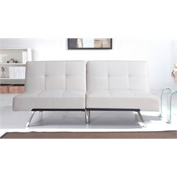Abbyson Living Riley Leather Convertible Sofa in Ivory