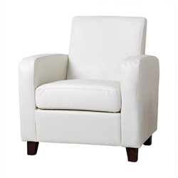 Abbyson Living Elizabeth Faux Leather Accent Chair in Ivory