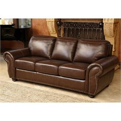 Abbyson Living Elm Leather Sofa in Brown
