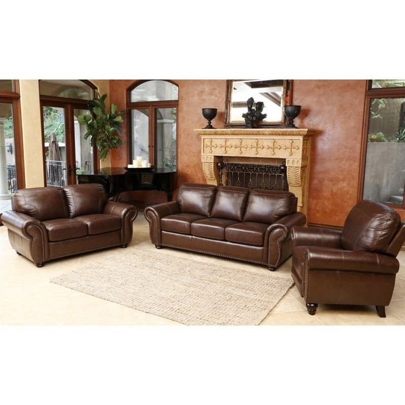 Abbyson Living Luca 3 Piece Leather Sofa Set In Brown Sk 24602 Brn 3 2 1