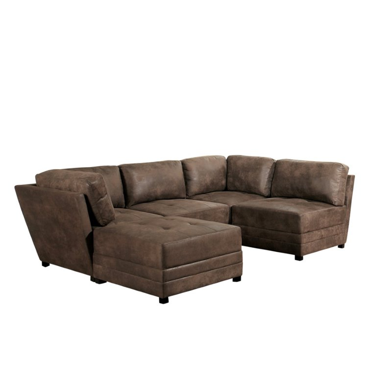 Grayson 5 Piece Fabric Sectional In Antique Brown Br 2532000 Atqb Set