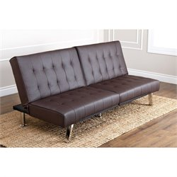 Abbyson Living Caldwell Faux Leather Convertible Sofa in Dark Brown