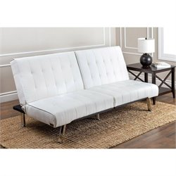 Abbyson Living Caldwell Faux Leather Convertible Sofa in Ivory