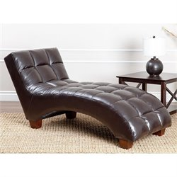 Abbyson Living Caden Tufted Faux Leather Chaise Lounge in Dark Brown