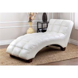 Abbyson Living CadenTufted Leather Chaise Lounge in Ivory
