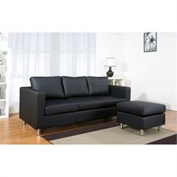 Abbyson Living Ainslee Leather Sofa with Ottoman in Black