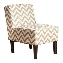 Abbyson Living Fiona Chevron Fabric Accent Chair in Gold