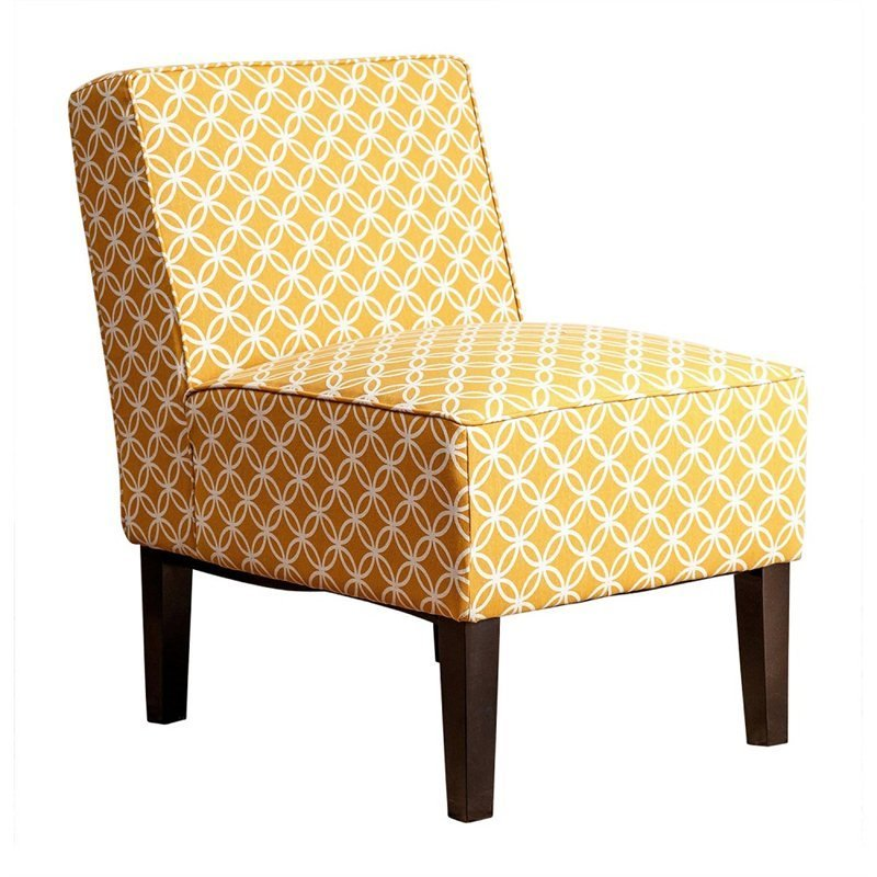 Fiona Patterned Fabric Accent Chair in Mustard Yellow MW