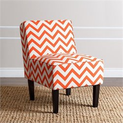 Abbyson Living Fiona Chevron Print Fabric Accent Chair in Orange