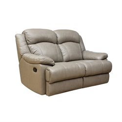 Abbyson Living Warwick Leather Reclining Loveseat in Grey