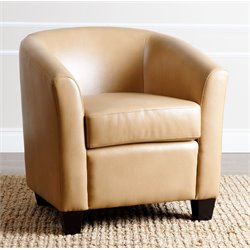 Abbyson Living Tanner Leather Armchair in Camel Beige