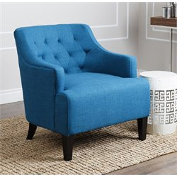 Abbyson Living Tessa Fabric Accent Armchair in Petrol Blue