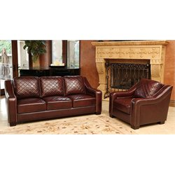 Abbyson Living Princenton Leather Sofa and Armchair Set in Burgundy