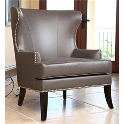 Abbyson Living Vienna Leather Nailhead Accent Chair in Gray