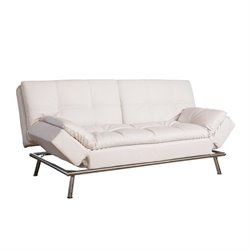 Abbyson Living Marquette Faux Leather Convertible Sofa in White