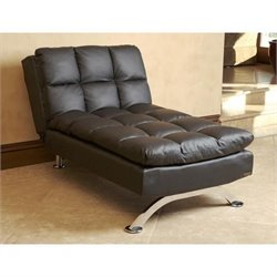 Abbyson Living Reedley Leather Convertible Sofa in Black