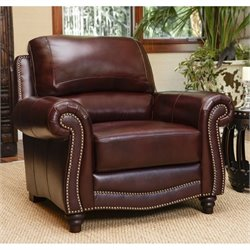 Abbyson Living Terbella Leather Accent Chair in Dark Burgundy