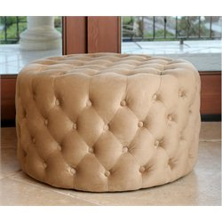 Abbyson Living Jemma Tufted Round Velvet Ottoman in Gold