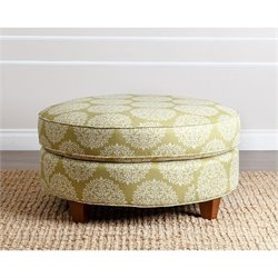 Abbyson Living Niall Fabric Round Ottoman in Floral Moss