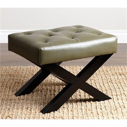 Abbyson Living Prina Leather Bench Ottoman in Green