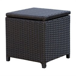 Abbyson Living Carlsbad Outdoor Wicker Storage Ottoman in Espresso