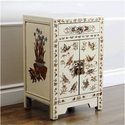 Abbyson Living Antique Asian Butterfly Accent Chest in Cream