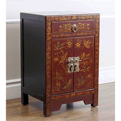 Abbyson Living Antique Asian Butterfly Accent Chest in Red