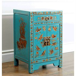 Abbyson Living Antique Asian Butterfly Accent Chest in Teal