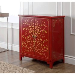 Abbyson Living Antique Parmita Hand Painted Accent Chest in Red