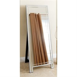 Abbyson Living Vivian Studded Floor Mirror in Silver