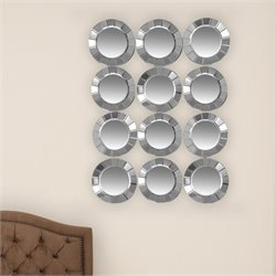 Abbyson Living Renne 12 Circle Wall Mirror in Silver