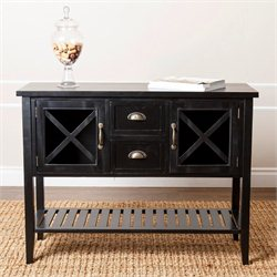 Abbyson Living Olympic Wood Console Sofa Table in Antiqued Black