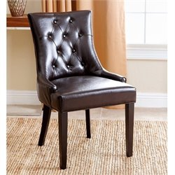 Abbyson Living Isla Leather Dining Chair in Dark Brown