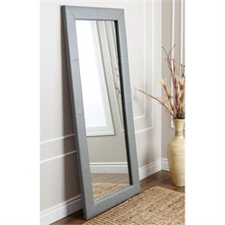 Abbyson Living Windsor Leather Floor Mirror in Grey