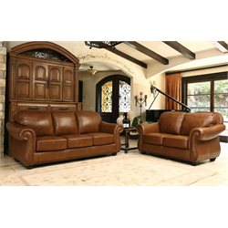 Abbyson Living Erickson Top-Grain Leather Sofa Set in Camel Brown