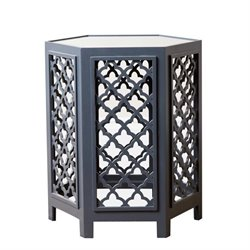 Abbyson Living Garland Mirrored End Table in Blue