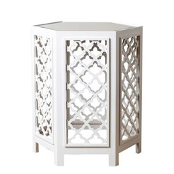 Abbyson Living Garland Mirrored End Table in White