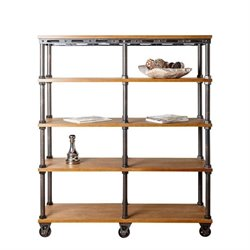 Abbyson Living Kingsley Industrial Entertainment Bookcase in Beige