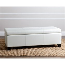 Abbyson Living Merida Leather Storage Ottoman in Ivory