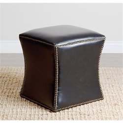Abbyson Living Elliot Leather Nailhead Trim Ottoman in Black
