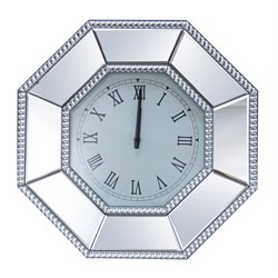 Abbyson Living Sage Studded Octagon Wall Mirror Clock in Silver