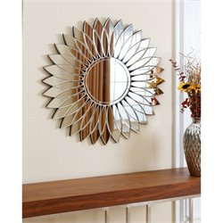 Abbyson Living Jasmine Round Wall Mirror in Silver