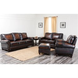 Abbyson Living Barclay Leather 4 Piece Sofa Set in Espresso