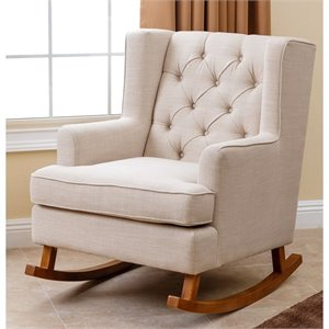 Abbyson Living Thatcher Fabric Rocking Chair in Beige