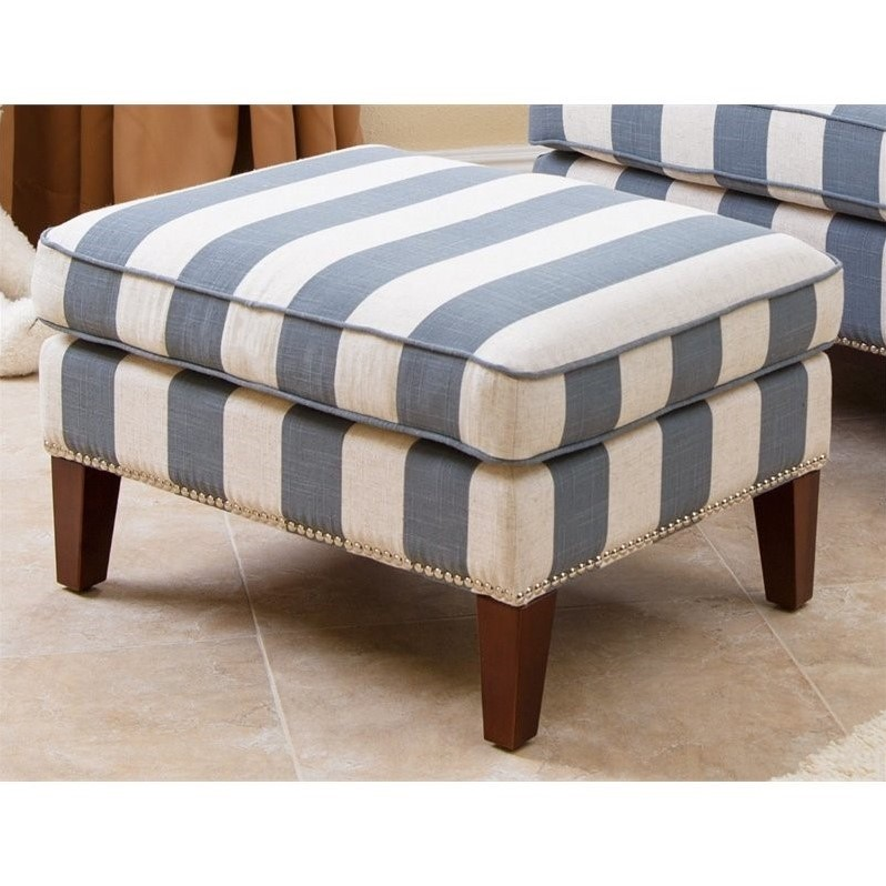 Abbyson Chelsie Fabric Ottoman In Blue And Ivory Br K Ra03 Blu 4