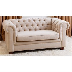 Abbyson Living RJ Kids Mini Fabric Chesterfield Sofa in Beige