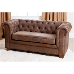 Abbyson Living RJ Kids Mini Fabric Chesterfield Sofa in Antique Brown