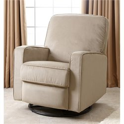 Abbyson Living Ravenna Fabric Swivel Glider Recliner Chair in Beige